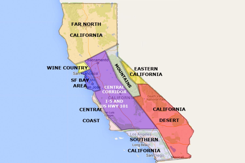 Kort Over Californien Nord For San Francisco Kort Over